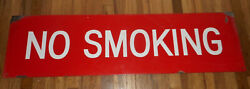 Vintage Mobil Oil Red And White Porcelain No Smoking Advertising Sign - Huge 9x33