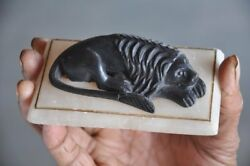 Old White Metal And Black Stone Handcrafted Sleeping Lion Figurine Paper Weight