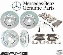 For Mercedes W222 AMG Front & Rear Brake Pad Sets & 2 Disc Rotors & Sensors Kit