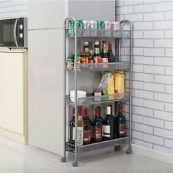 4 Tier Slim Slide Out Tower Trolley Cart Storage Bathroom Kitchen Office Casters