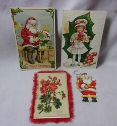 Christmas Antique Embossed Postcard And Greeting Card And Tag Ornament Lot  T