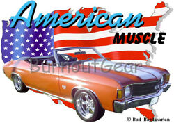 1972 Orange Chevy Chevelle Ss Convertible Hot Rod Usa T-shirt 72 Muscle Car Tees