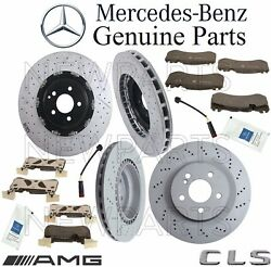 For Mercedes W219 Amg Front And Rear Brake Kit 4 Rotors 8 Pads 2 Sensors Lubes Oes