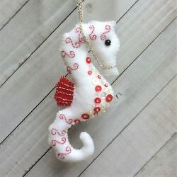 Christmas Seahorse Ornament  Holiday Felt Embroidery Kit Sequins Pepermint