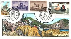 1990 Salt Lake City Utah Usa Duck Stamp Milford Hand Painted First Day Cover