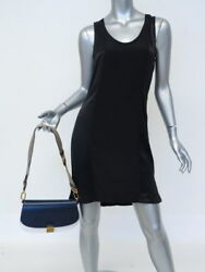 Michael Kors Collection Bag Mia French Calf Leather Navy & White Crossbody NEW
