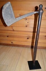 Antique African Tribal Wood Ax Metal Hand Forged Blade Burkina Faso West Africa