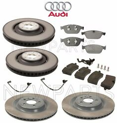 For Audi A8 Quattro Front And Rear Vented Brake Rotors Pads And Sensors Kit Genuine