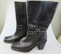 Frye Tall Stud Black Leather Inner Side Zip Heels Boots Womenand039s Us Size 10