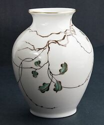 Beautiful Rosenthal Hand Signed German Porcelain Vase With Gold Trim