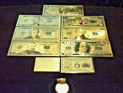 Full Gold Banknote Set Mint Condition 15102050100 W/ Certificate+morel