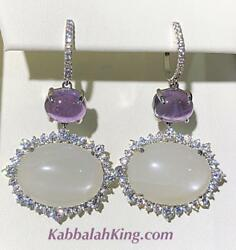 Platinum Sterling Silver Pave White Sapphire Purple Amethyst Halo Drop Earrings