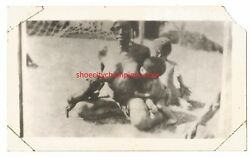Wwii New Guinea Woman Breast Feeding Child And Pig Snap Shot-free Ship-real Photo
