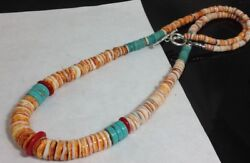Gradual Spiny Oyster Shell/turquoise/coral Heishi Necklace//22 Lengthg180v-w1