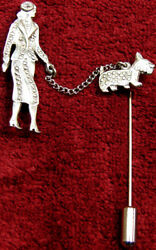 OLD METAL LADY AND SCOTTISH TERRIER SCOTTIE DOG TWO PART JEWELRY STICK PIN