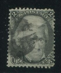 1868 Us Stamp 84 2c Used Cork Cancel D. Grill Catalogue Value 4250 Certified