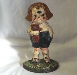 Old Antique Hubley Cast Iron Doorstop Bobby Blake Campbell Soup Kid Dolly Dingle