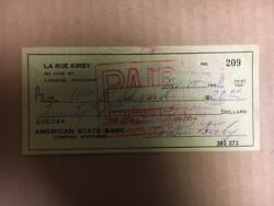 LaRue Kirby NY GiantsSt Louis Terriers 1912-15 Signed Check d.1961