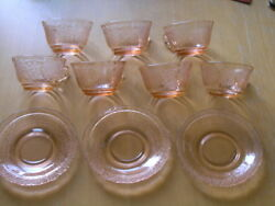 Group 7 Cups 3 Saucers Normandie Bouquet And Lattice Pink By Federal Glass Company
