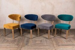 Velvet Upholstered Dining Chairs Curved Cafe Chairs Diamond Stitch Comfortable