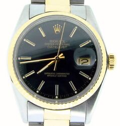 Rolex Datejust Mens 2tone Yellow Gold And Stainless Steel Watch Black Dial 16013