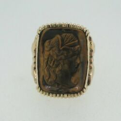 10k Yellow Gold 1800s Carved Tiger Eye Ring Size 7 1/4