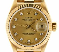 Ladies Rolex 18K Yellow Gold Datejust President Watch FACTORY Diamond Dial 69178