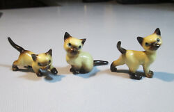 Three Small Vintage late 1970s Siamese CAT Figurines made of CeramicPorcelain