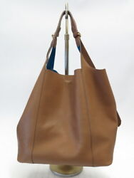 Nina Ricci Bag Faust Brown Leather Large Bucket Bag Tote Turquoise Suede Lining