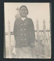 1905 Alaskan Indian Girl Integrated With Christian Church Vintage Photo