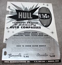 Vintage Mid Century Space Age Hull Compass Auto Boat Dealers Brochure 1950and039s
