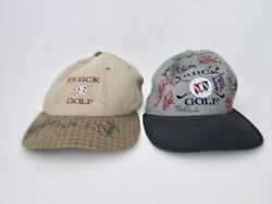 Pair Buick Golf Tournament Caps Hats With Lots Of Autographs