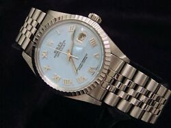 Rolex Stainless Steel Datejust Watch W/blue Mop Roman Dial And Jubilee Band 16030