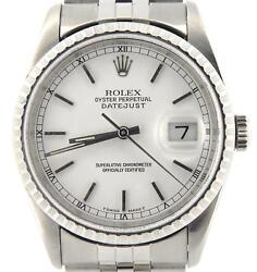 Rolex Datejust Mens Stainless Steel Quickset Jubilee Band White Dial Watch 16220