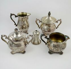 Temple Beth Torah Lot Antique Rogers And Son Silverplate Victorian Rose 4+kiddush