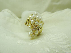 14k Yellow Gold Cultured Salt Water Pearls-diamond Ring Size 7 N210-z