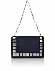 Tomasini Women's Navy Blue Suede Leather Mirror Embellished Clutch Messenger Bag