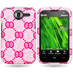 For PANTECH RENUE P6030 Hard Slim Pink Bow Design Snap On Cover Case