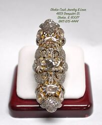 Vintage 1 Of A Kind 14kt Gold And Silver Knuckle Finger Ring 15cts Of Diamonds