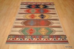 Southwestern Wool Kilim Area Rug 4and039 X 6and039 Handmade Red And Blue Caucasian Style