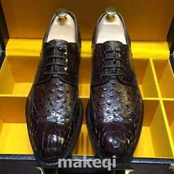 Mens Hand Made Real Leather Crocodile Pattern Formal Dress Shoes Carved Brogue