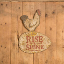 New Rustic Vintage Antique Style Chic RISE & SHINE CHICKEN EGG Rooster Sign 25