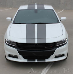 N Charge 15   2015-2018 Dodge Charger With Center Racing Stripes 3m Wet Install