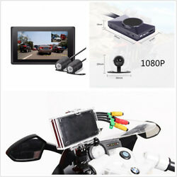 3'' Real Full HD Dual Lens Motorcycle GPS DVR Video Recorder w Wired Controller