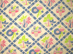 Vintage Feedsack South Of The Border Pottery Hats Pink Blue Lime Tablecloth