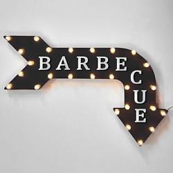 Barbecue Arrow Light Up Rustic Metal Marquee Sign - Ribs Barbeque Wings Grill