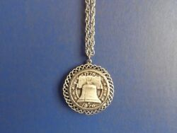1976 Bicentennial Pewter Medal Medallion On Chain Necklace In Box