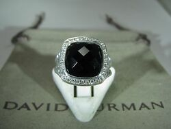 David Yurman Authentic Silver Albion 11mm Onyx Pave Diam. Ring New Stile Size 6