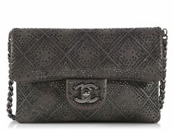 CHANEL 2013 Gray Studded Mini Crossbody Bag Purse ~ Shimmer + studs!