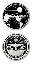 Marshall Islands First Man Made Satellite 1957 50 1989 Proof Silver Crown